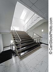 aço, escadaria, corrimão