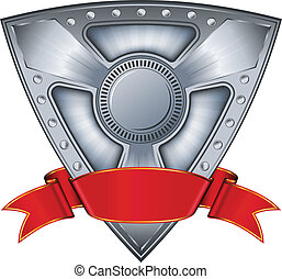 aço, escudo, com, fita vermelha