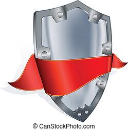 aço, escudo, fita, vermelho