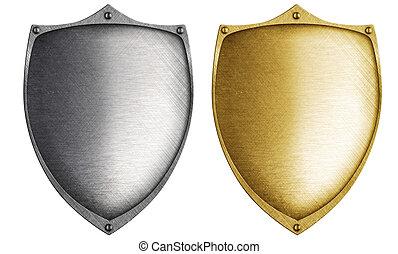 aço, feito, metal, escudos, bronze