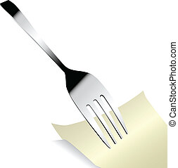 aço, garfo, adesivo