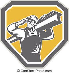 aço, i-beam, carregar, trabalhador, construção, retro