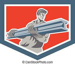 aço, i-beam, escudo, trabalhador, carregar, retro,...