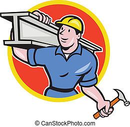 aço, i-beam, trabalhador, construção, carregar, círculo,...