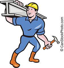 aço, i-beam, trabalhador, construção, carregar, caricatura