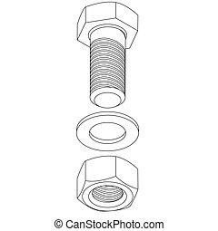 aço, illustration., inoxidável, nut., vetorial, parafuso
