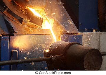aço, indústria, líquido, fundido