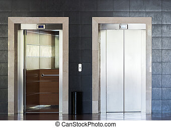 aço, inoxidável, elevador, cabana
