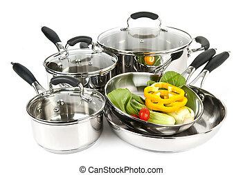 aço, inoxidável, legumes, potes, panelas