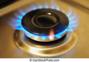 aço, inoxidável, queimador, gás