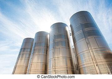 aço, inoxidável, silos