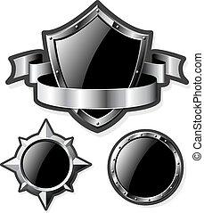 aço, jogo, isolado, lustroso, branca, escudos