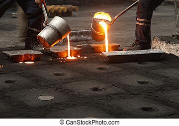 aço, lançando, trabalhadores