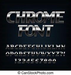 aço, letras, cromo, alfabeto, oblíquo, efeito, numbers., font.