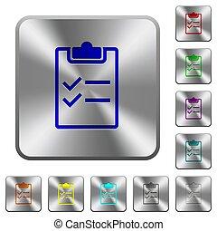 aço, lista de verificação, quadrado, arredondado, botões