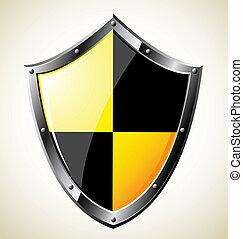aço, lustroso, escudo