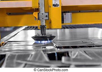 aço, máquina, corte, fábrica