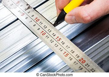 aço, medindo, marcação, quadro, salpique, drywall