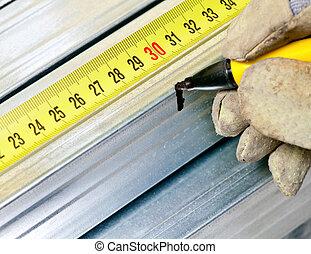 aço, medindo, salpique
