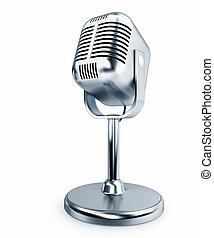 aço, microfone, -, isolado, retro, fundo, branca