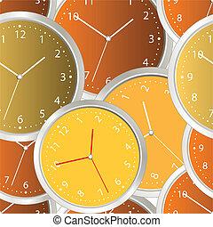 aço, modernos, coloridos, relógio