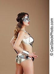 aço, mulher, vogue., máscara, cyber, traje, prata