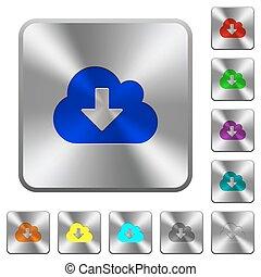 aço, nuvem, download, botões