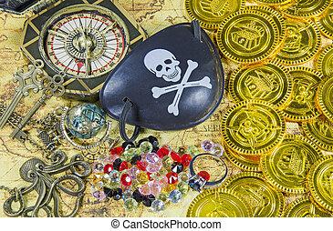 aço, olho, pirata, cranio, remendo