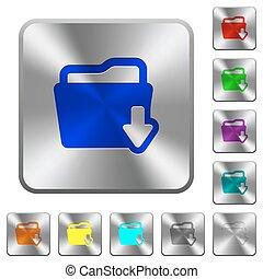 aço, pasta, download, botões