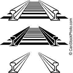 aço, perfil, pista, símbolo, trilho, trem