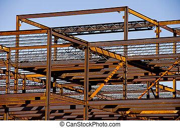 aço, predios, quadro, construção