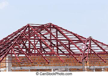 aço, predios, residencial, telhado, viga, construção, ...