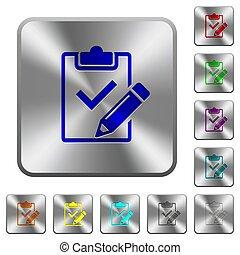 aço, quadrado, arredondado, lista de verificação, botões, saída, preencher