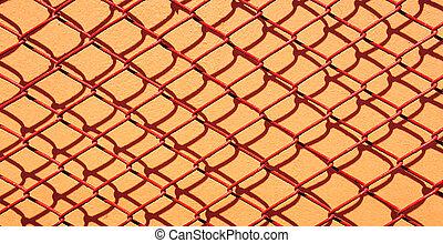 aço, rede, metal, vermelho