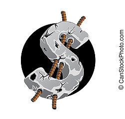 aço, símbolo dólar, -, reforçar, concreto, rachado
