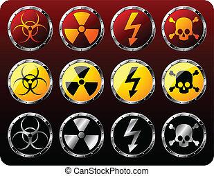 aço, símbolos, aviso, escudos