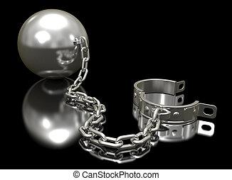 aço, shackle., bola, corrente