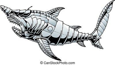 aço, submarino, tubarão