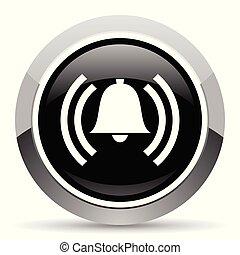 aço, teia, pushbutton., cromo, alarme, button., metálico, vetorial, icon., borda, prata, redondo
