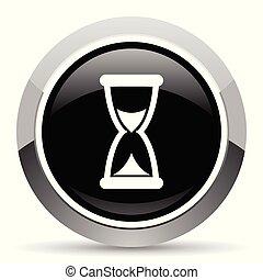 aço, teia, pushbutton., cromo, button., metálico, vetorial, tempo, icon., borda, prata, redondo