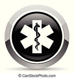 aço, teia, pushbutton., emergência, cromo, button., metálico, vetorial, icon., borda, prata, redondo