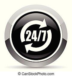 aço, teia, pushbutton., serviço, cromo, button., metálico, vetorial, icon., borda, prata, redondo