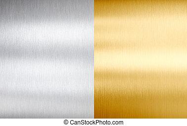 aço, texturas, metal escovado, ouro