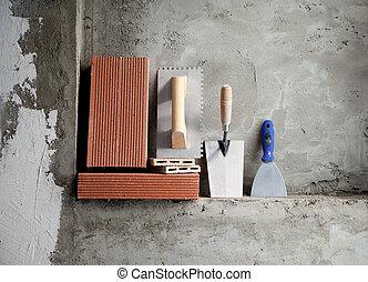 aço, tijolos, inoxidável, trowel, construção, ferramentas