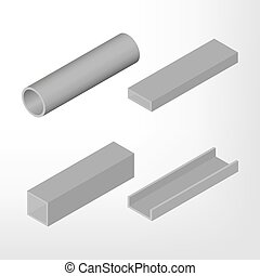 aço, viga, isometric, vetorial, illustration.