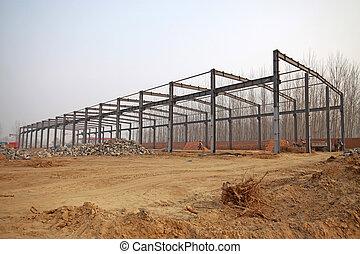 aço, viga, local construção, estrutural