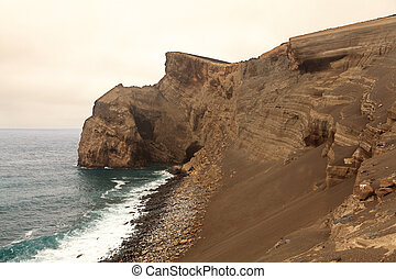 açores, faial, paysage volcanique, île