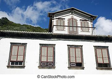 açores, lages, maison, pico, traditionnel, vieux
