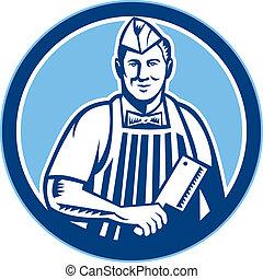 açougueiro, cleaver carne, faca, círculo