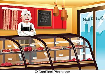 açougueiro, em, um, carne, loja